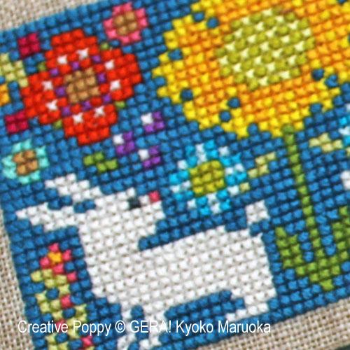 Petits motifs à fleurs N°1, grille de broderie, création GERA! Kyoko Maruoka
