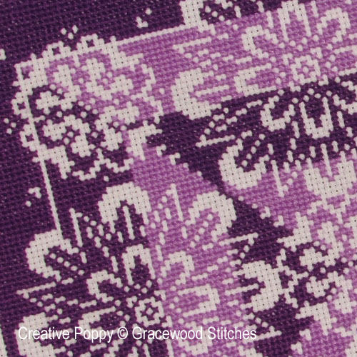 Traces de dentelle - Vivacité violette, grille de broderie, création Gracewood Stitches