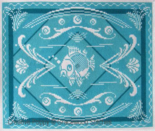 Août - Océan, grille de broderie, création Gracewood Stitches