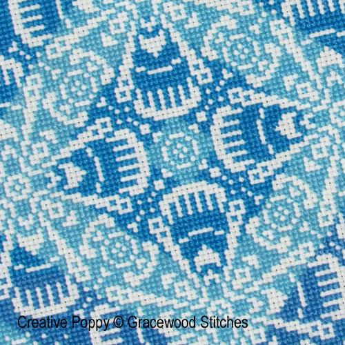 Traces de dentelles - éclats d'azur, grille de broderie, création Gracewood Stitches