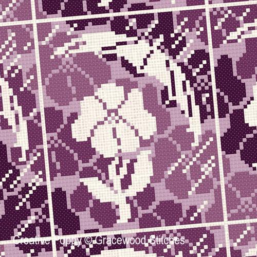Mai - Il pleut des violettes, grille de broderie, création Gracewood Stitches