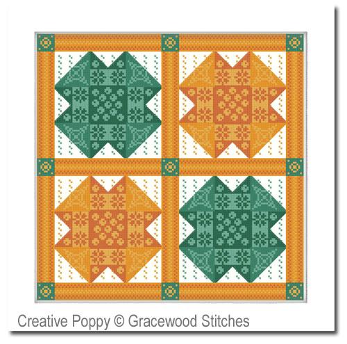 Février - Carré patchwork, grille de broderie, création Gracewood stitches