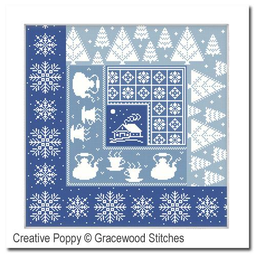 Janvier - Nid douillet, grille de broderie, création Gracewood Stitches