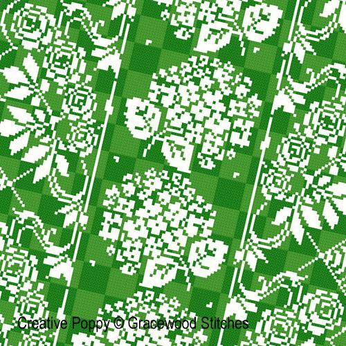 Juin - Roses et Hortensias, grille de broderie, création Gracewood Stitches