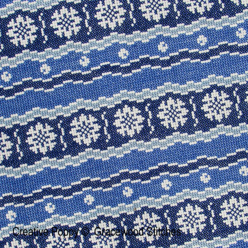 Kyoto (Collection tissus vintage), grille de broderie, création Gracewood Stitches