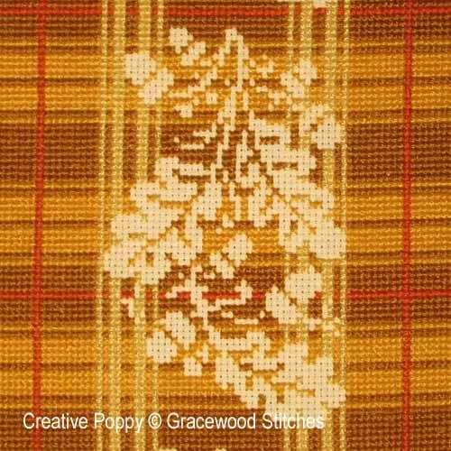 Octobre - Toile rustique au chên, grille de broderie, création Gracewood Stitches