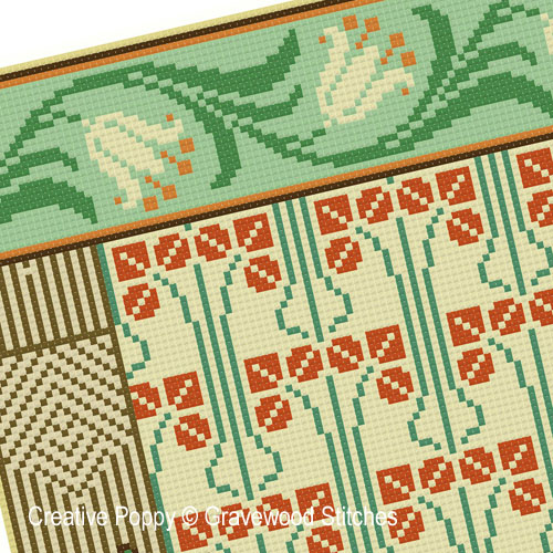 Sampler Art Déco, grille de broderie, création Gracewood Stitches