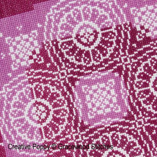 Traces de dentelles - Roues de prune, grille de broderie, création Gracewood Stitches