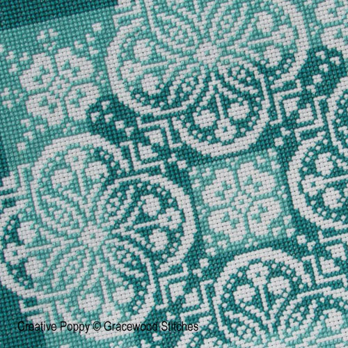 Gracewood Stitches - Traces de dentelles - Nuances de jade, zoom 1 (grille de broderie point de croix)