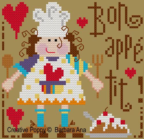 Bon appétit! - grille de point de croix création Barbara Ana