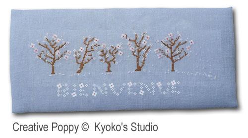 Bienvenue Printemps (Il neige de pétales de fleurs), grille de broderie, création Kyoko's Studio