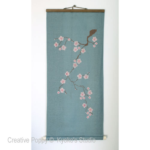 Le vieux cerisier, grille de broderie, création Kyoko's Studio
