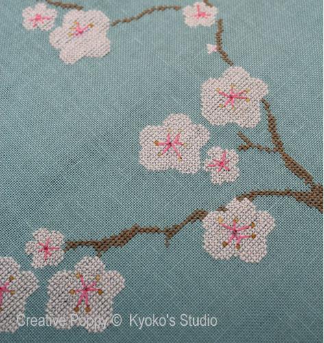 Le vieux cerisier broderie point de croix, création Kyoko's Studio, zoom2