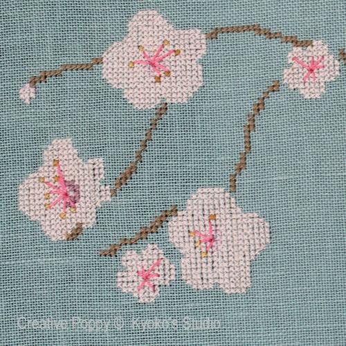 Le vieux cerisier broderie point de croix, création Kyoko's Studio, zoom3
