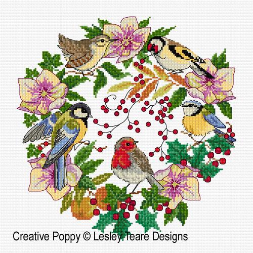 Couronne de Noël aux oiseaux, grille de broderie, création Lesley Teare