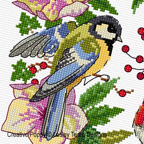 Lesley Teare - Couronne d'hiver aux oiseaux (grille de broderie point de croix)