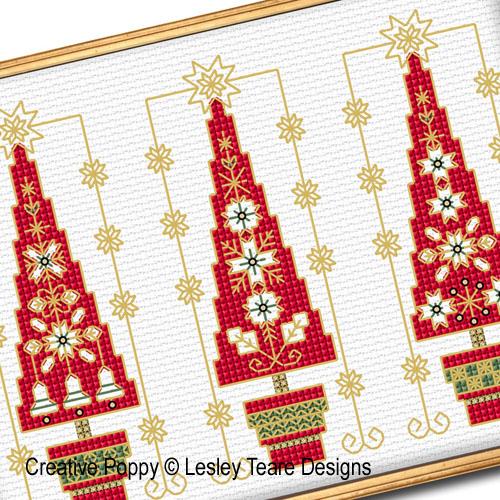 Trois sapins de Noël, grille de broderie, création Lesley Teare