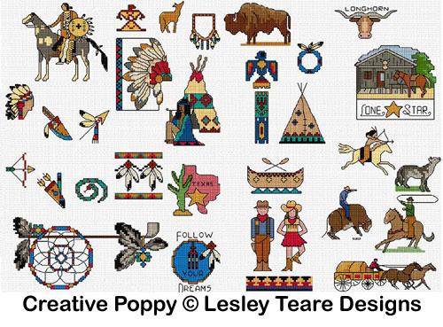 30 mini motifs Western, grille de broderie, création Lesley Teare