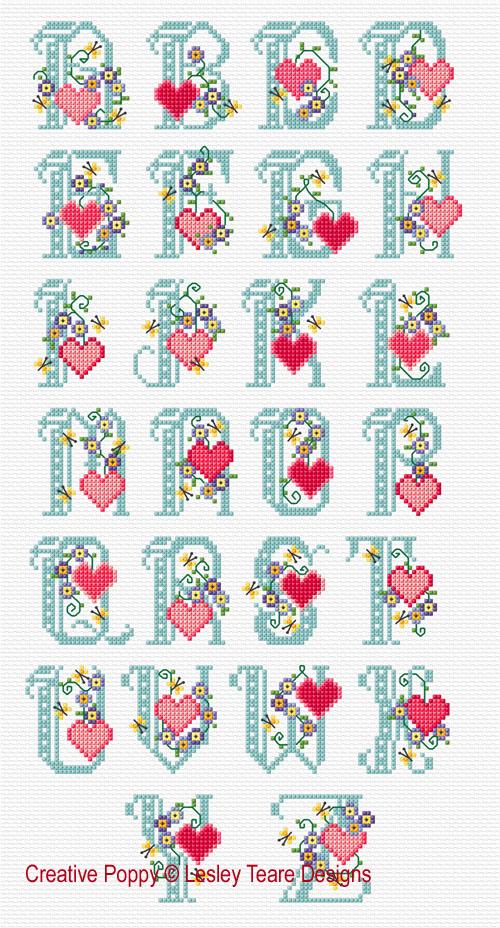 Alphabet Fleurs et Coeurs, grille de broderie, création Lesley Teare