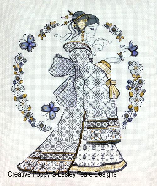 Beauté orientale - Blackwork, grille de broderie, création Lesley Teare