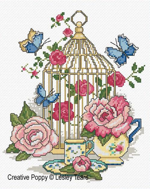 Lesley Teare - La cage aux oiseaux (grille de broderie point de croix)