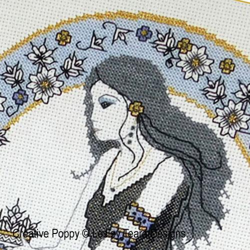 Belle de l'automne en Blackwork, grille de broderie, création Lesley Teare