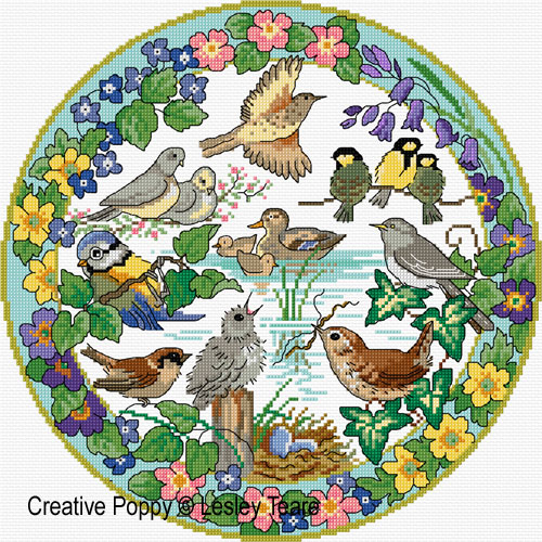 Lesley Teare - Oiseaux au printemps, zoom 4 (grille de broderie point de croix)