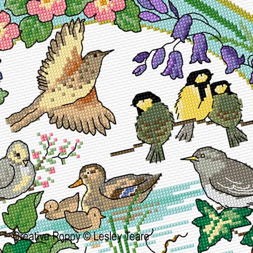 Lesley Teare - Oiseaux au printemps, zoom 2 (grille de broderie point de croix)