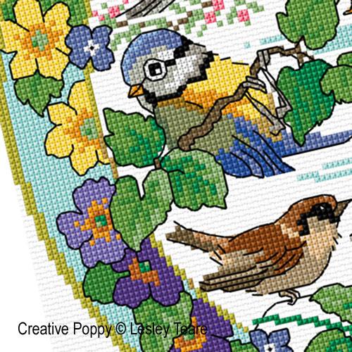 Lesley Teare - Oiseaux au printemps, zoom 3 (grille de broderie point de croix)