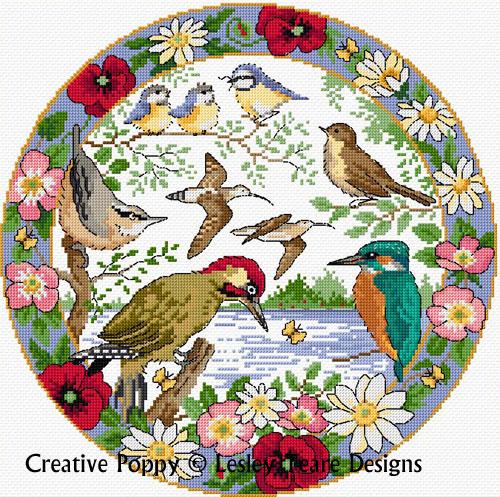 Lesley Teare - L'été des oiseaux (grille de broderie point de croix)