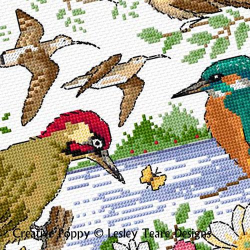 L'été des oiseaux, grille de broderie, création Lesley Teare