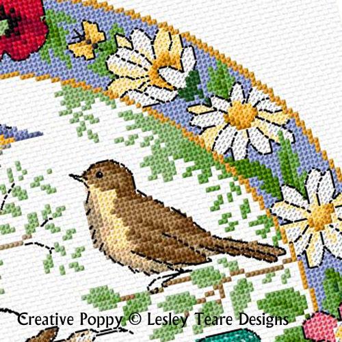 Lesley Teare - L'été des oiseaux, zoom 2 (grille de broderie point de croix)