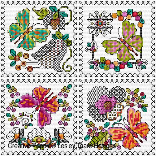 Petits motifs de Blackwork aux papillons, grille de broderie, création Lesley Teare