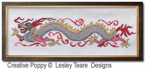 Dragon en Blackwork, grille de broderie, création Lesley Teare