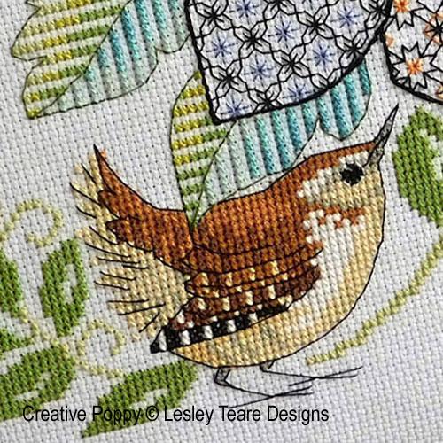 Modèles de broderie avec oiseaux, création Lesley Teare