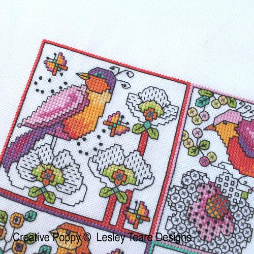 Lesley Teare - Petits motifs de Blackwork - Fleurs et oiseaux, zoom 1 (grille de broderie)