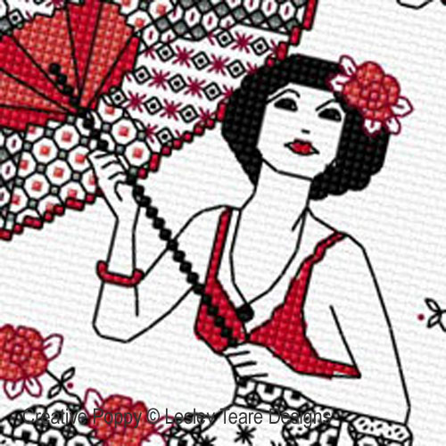 Blackwork - dame au parasol, grille de broderie, création Lesley Teare