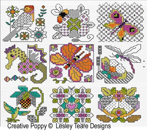 30 mini motifs de Blackwork, grille de broderie, création Lesley Teare