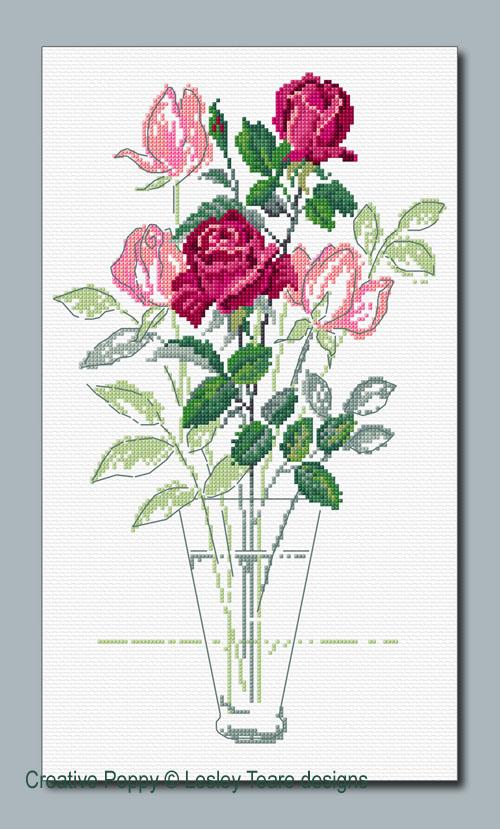 Le bouquet de roses, grille de broderie, création Lesley Teare