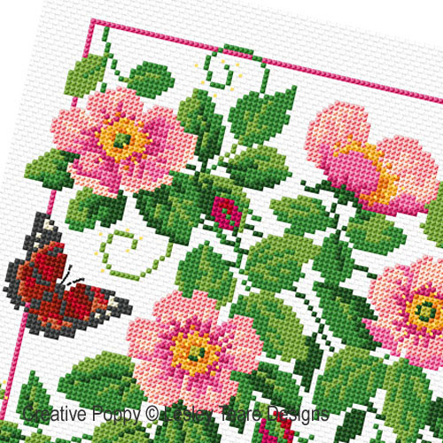 Eglantiers et Papillons, grille de broderie, création Lesley Teare
