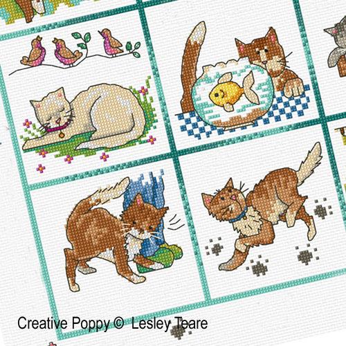 Une vie de chat, grille de broderie, création Lesley Teare