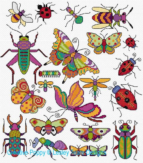Motifs insectes et papillons, grille de broderie, création Lesley Teare