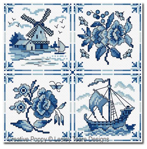 Carreaux de Delft, grille de broderie, création Lesley Teare