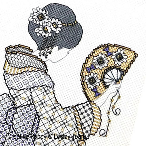 Charme Oriental - Blackwork, grille de broderie, création Lesley Teare