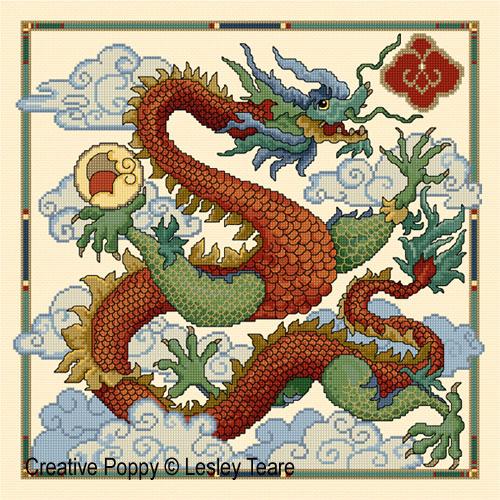 Dragon, grille de broderie, création Lesley Teare