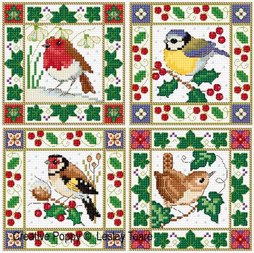 Oiseaux de Noël, grille de broderie, création Lesley Teare