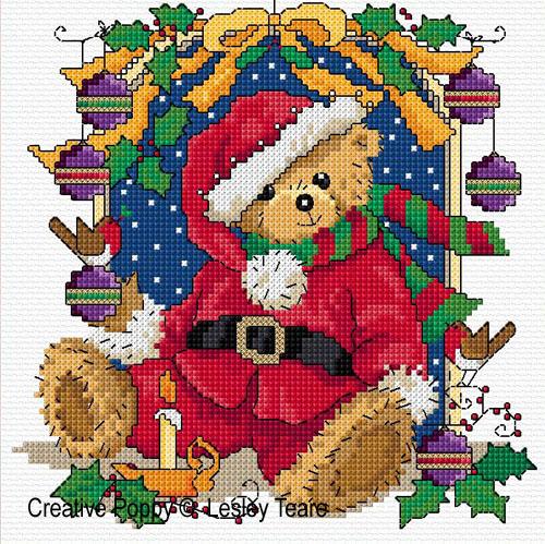 Petit ours de Noël, grille de broderie, création Lesley Teare