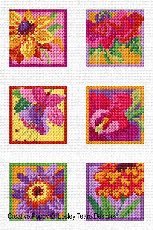 6 Fleurs éclatantes, grille de broderie, création Lesley Teare