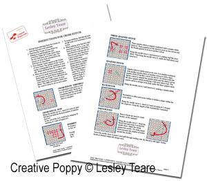 Guide de Broderie, grille de broderie, création Lesley Teare