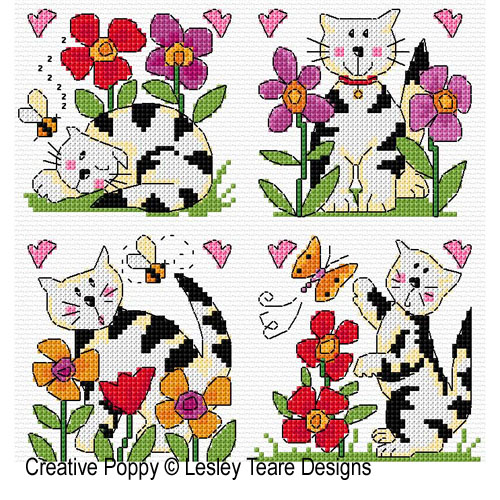 Le chat joueur, grille de broderie, création Lesley Teare
